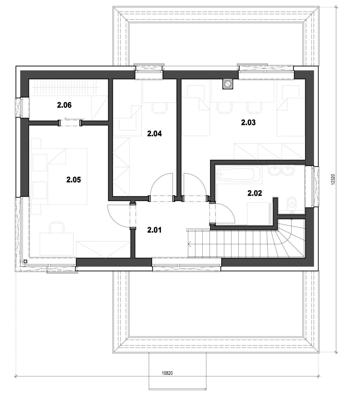 Rodinný dom 8 2. nadzemné podlažie pôdorys