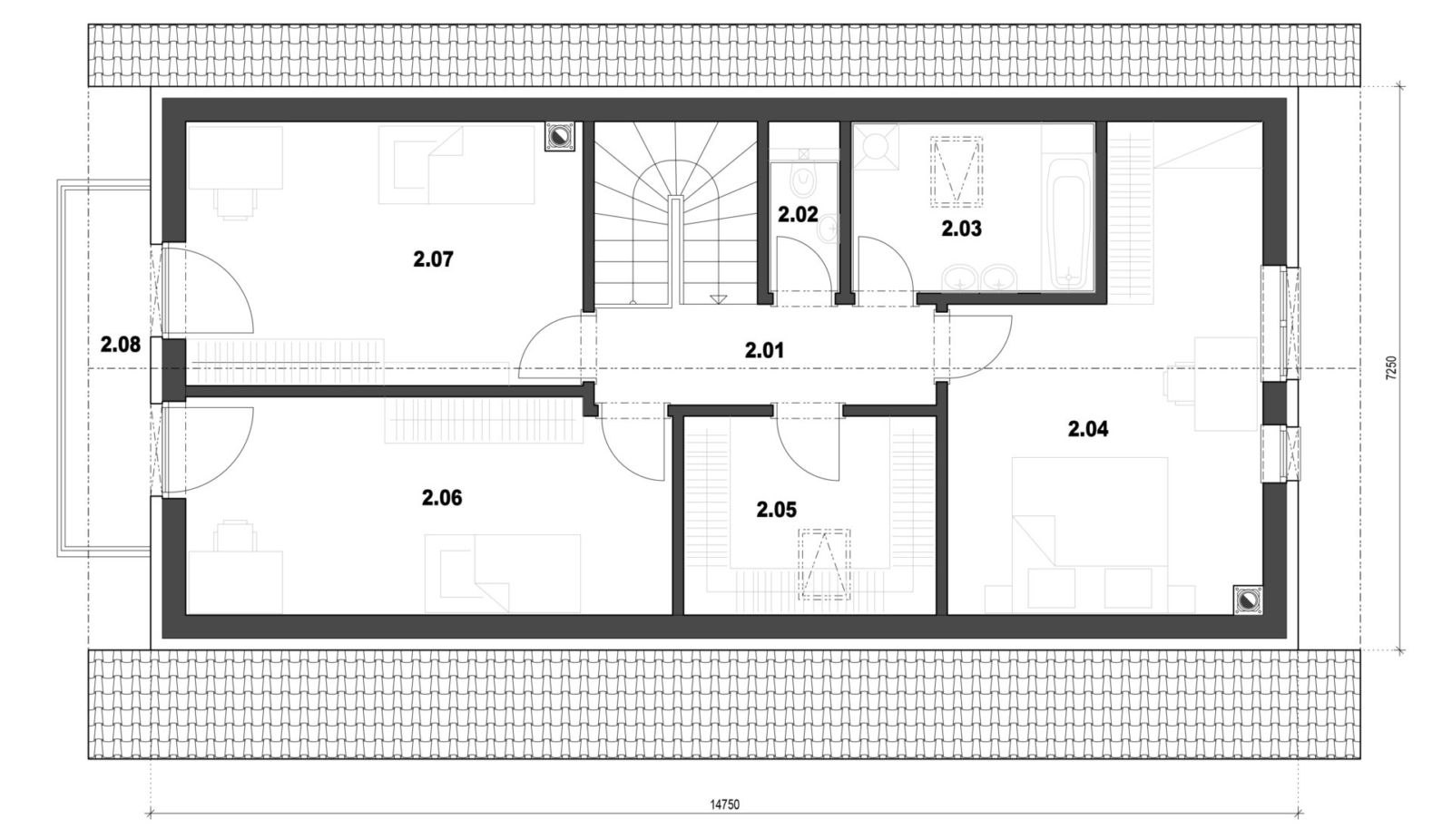 Rodinný dom 13 2. nadzemné podlažie pôdorys