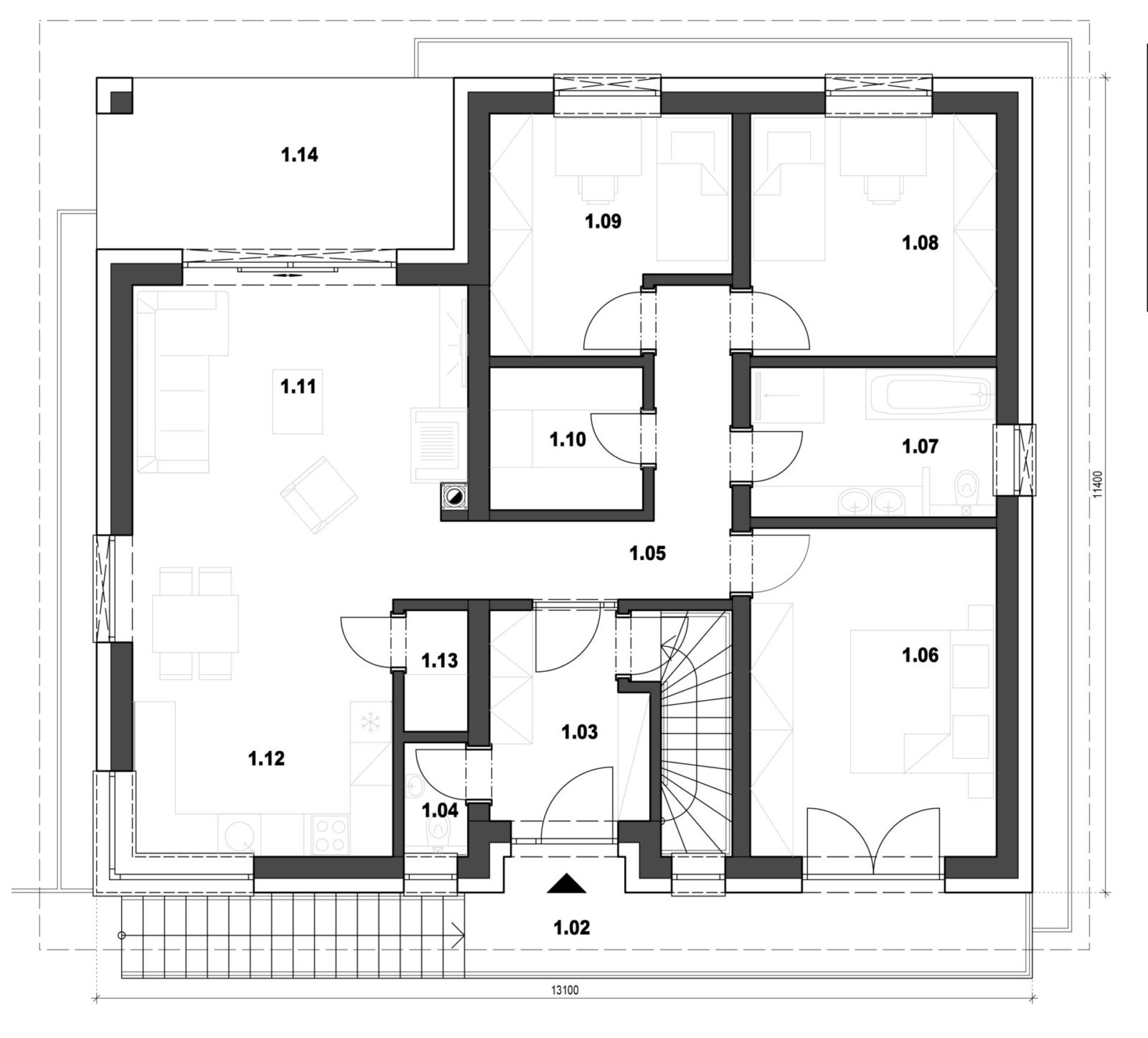 Rodinný dom 4 nadzemne podlažie pôdorys