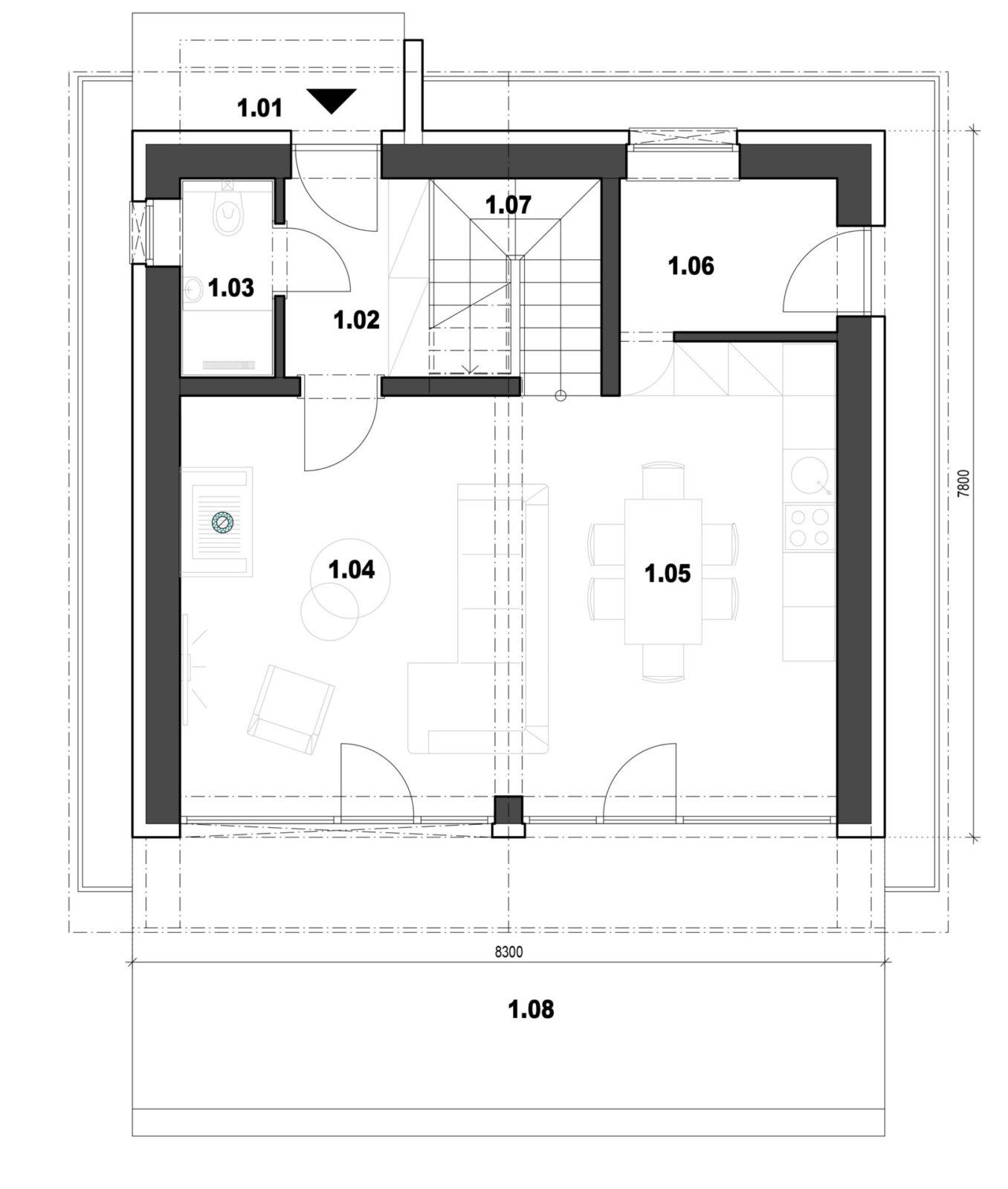 Rodinný dom 6 1. nadzemné podlažie pôdorys
