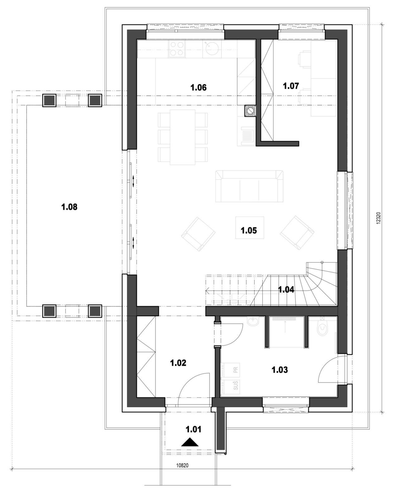 Rodinný dom 8 1. nadzemné podlažie pôdorys